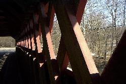 Detail of the interior of the Henry Bridge, a covered bridge in Bennington, Vermont.  Sean Puckett, 2003